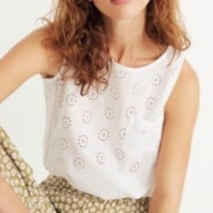 Madewell White Eyelet Bubble Crop Top